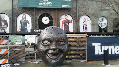Providence Park, smile sculpture, east side, Turner Construction