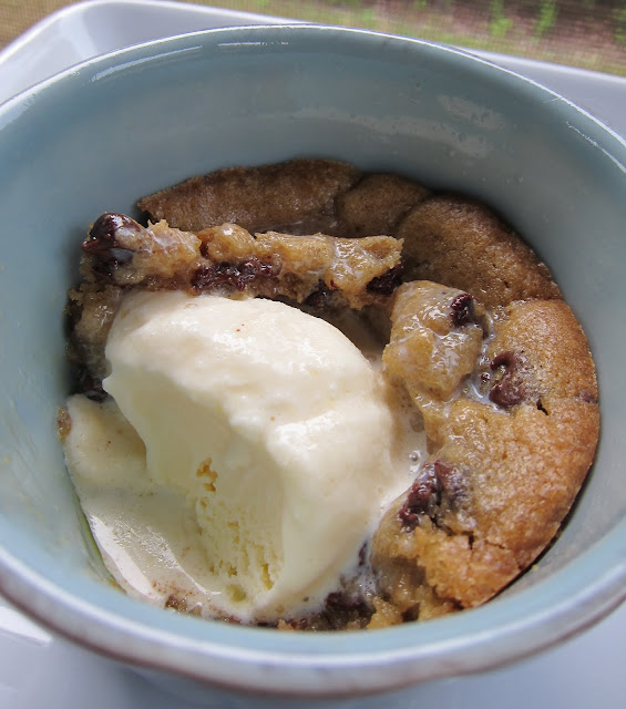 Deep Dish Chocolate Chip Cookie Sundaes Recipe - only 2 ingredients!!! You can have a yummy dessert in a flash! We eat these all the time. Also great for parties!
