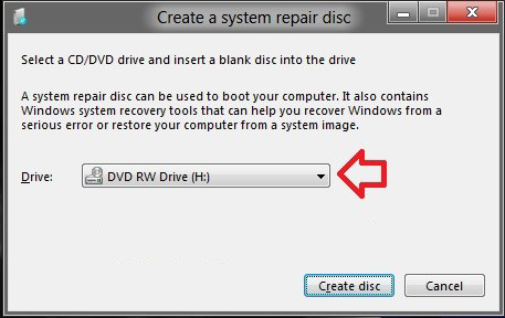 select cd/dvd writer and insert a blank disc