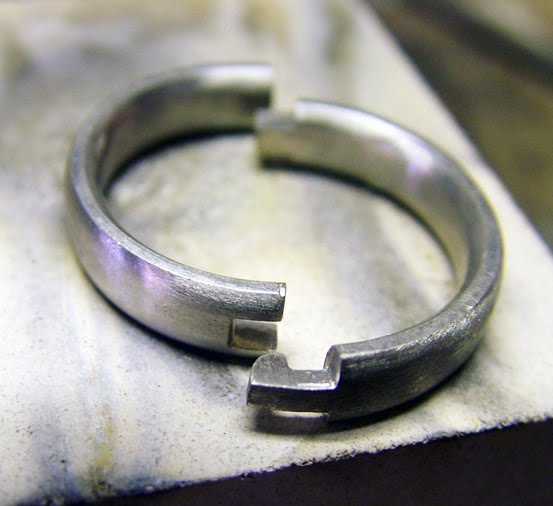 A Hand Made Hinged Wedding Ring In Palladium For Lady With Arthritic Finger Joints