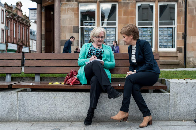 Photo of me interviewing Scotland's First Minister Nicola Sturgeon just months before our big decision