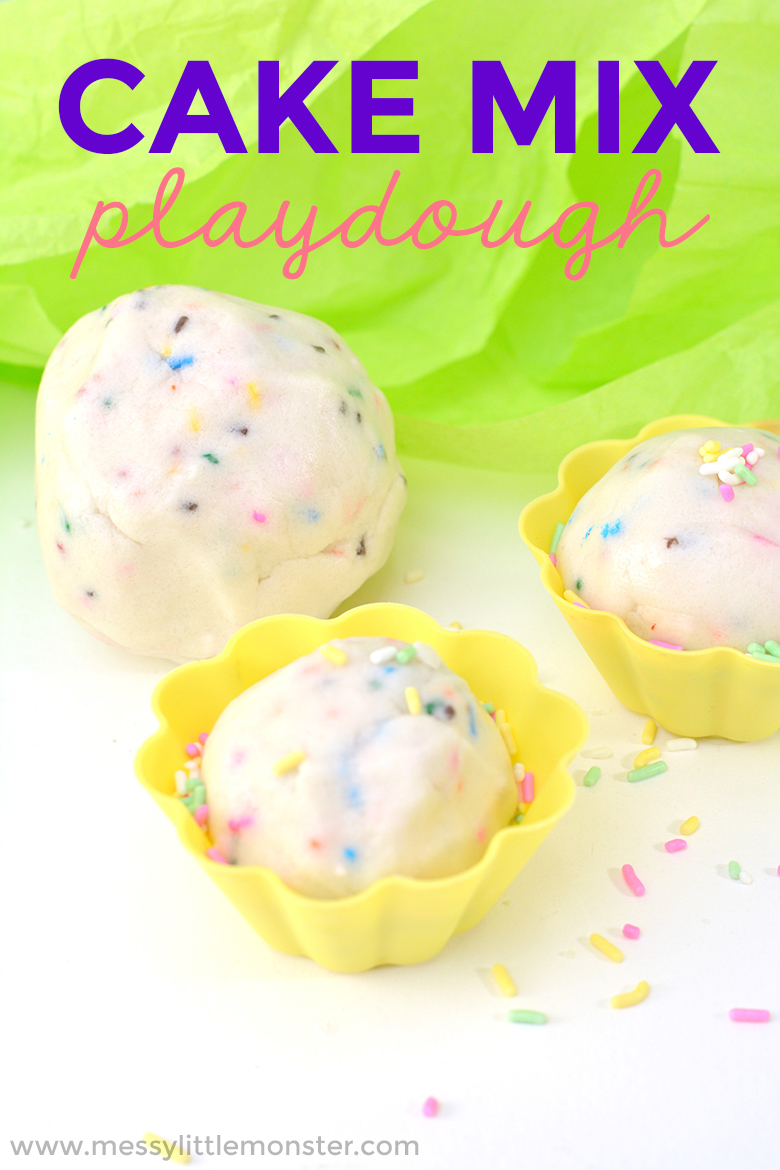 Taste safe playdough recipe for toddlers and preschoolers. Edible playdough recipe - Cake mix playdough.