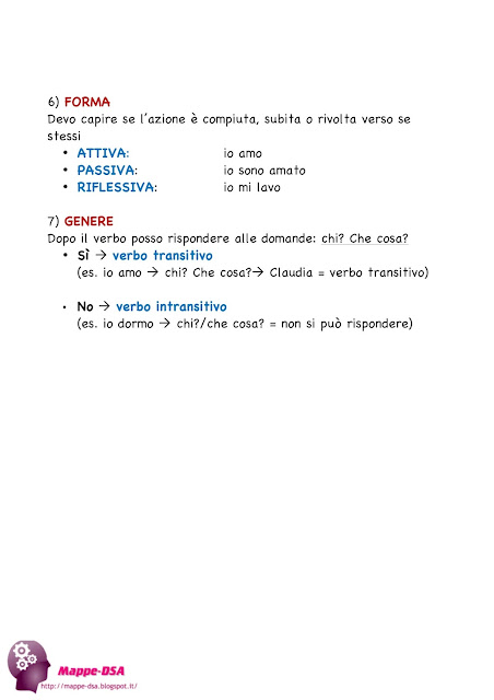 mappedsa mappa schema dsa disturbi specifici apprendimento scuola dislessia grammatica italiano analisi grammaticale verbi modi tempi persona forma genere come si analizza misure compensative