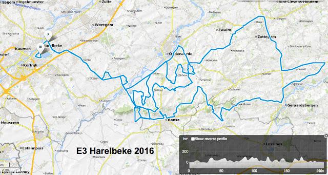 E3 Harelbeke route map 2016