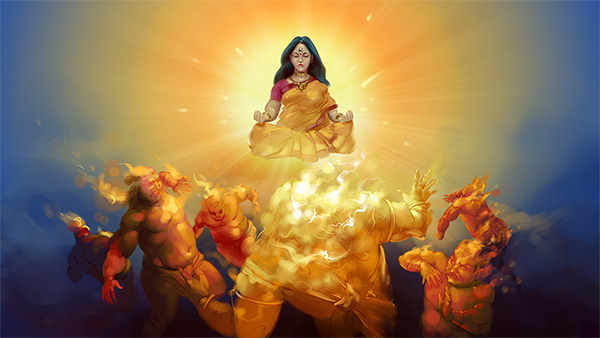 durga mata devi chandi meditating, rakshasas demolishing mythology digital painting illustrations