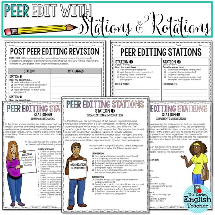 The Daring English Teacher 5 Ways to Foster Effective Peer Editing – Peer Editing Worksheet