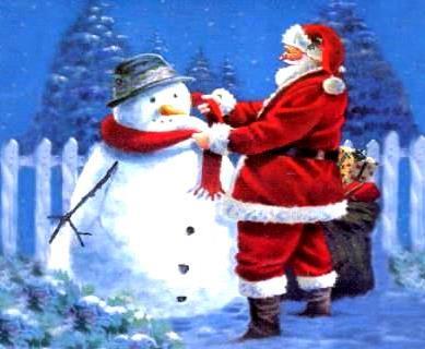 Dibujo de Papa Noel poniendo chalina al muñeco de nieve a color