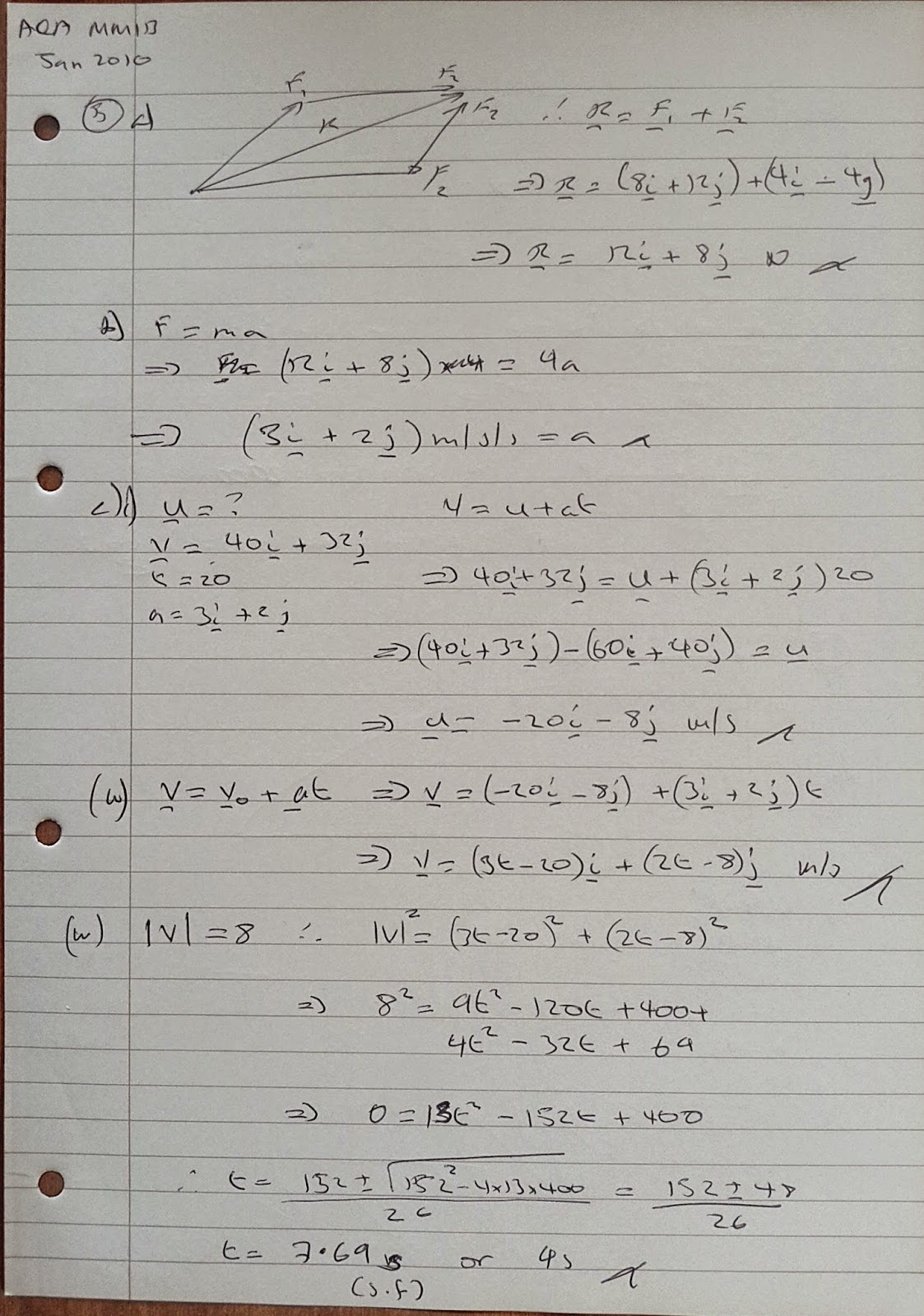 A Level Maths Notes: AQA Machanics 1 (MM1B) Winter 2010