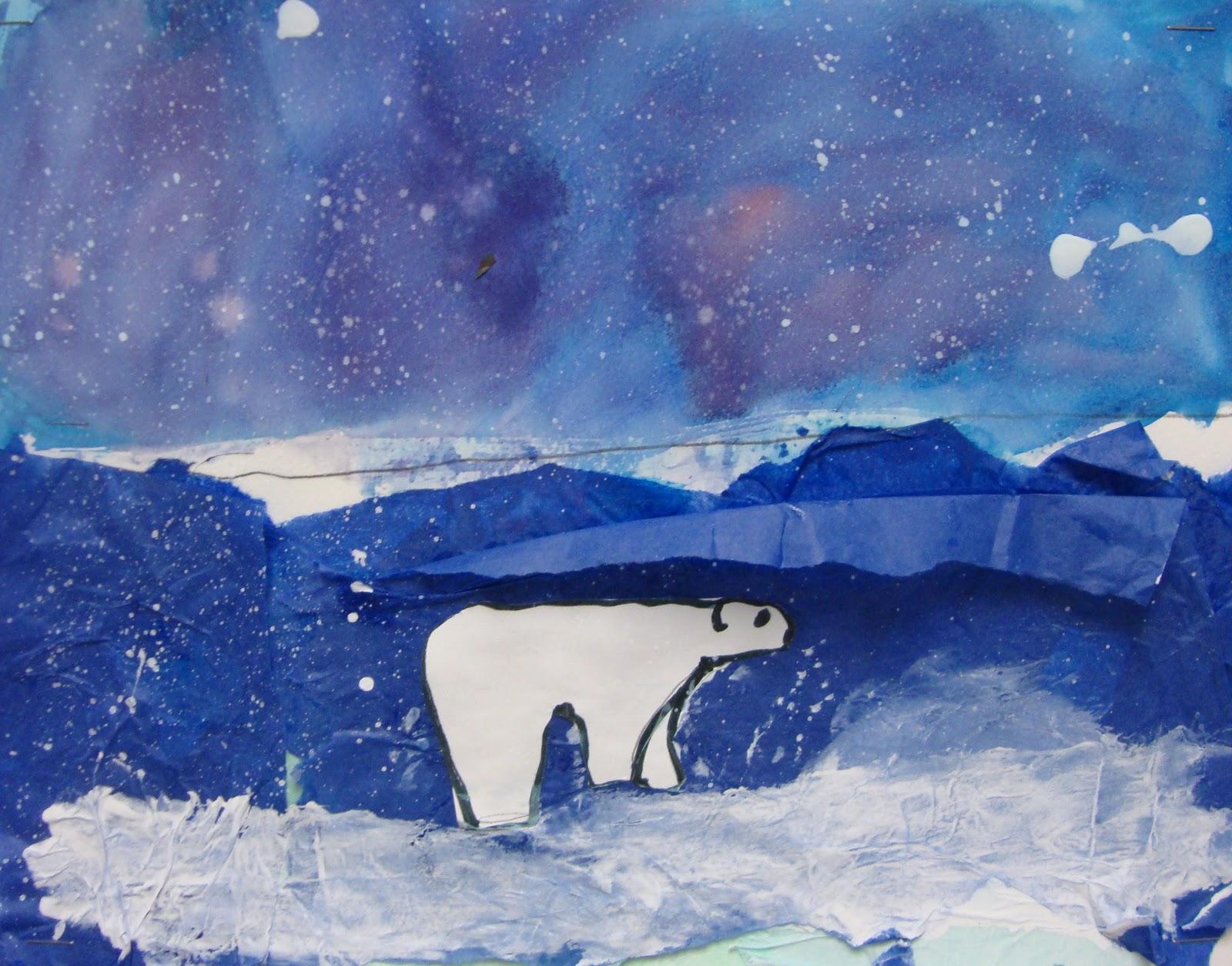 Art Paper Scissors Glue Winter Polar Bears