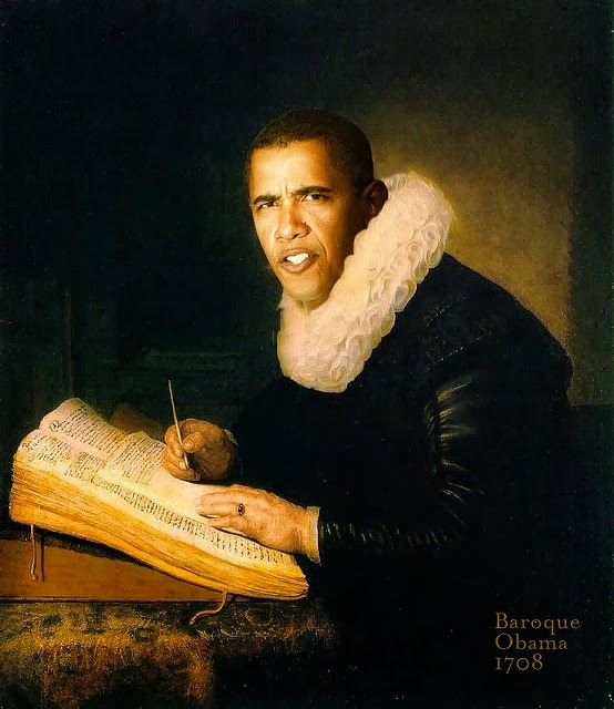 Funny Baroque Obama Painting Joke Picture