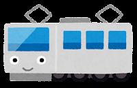 電車のキャラクターのイラスト(シルバー)