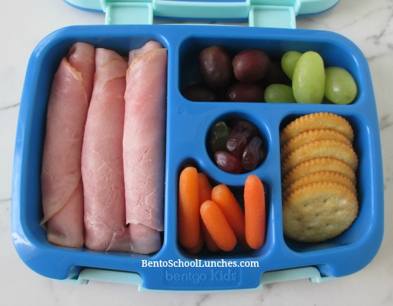 Roll Up ham and cheese school lunch in leak proof Bentgo lunchbox