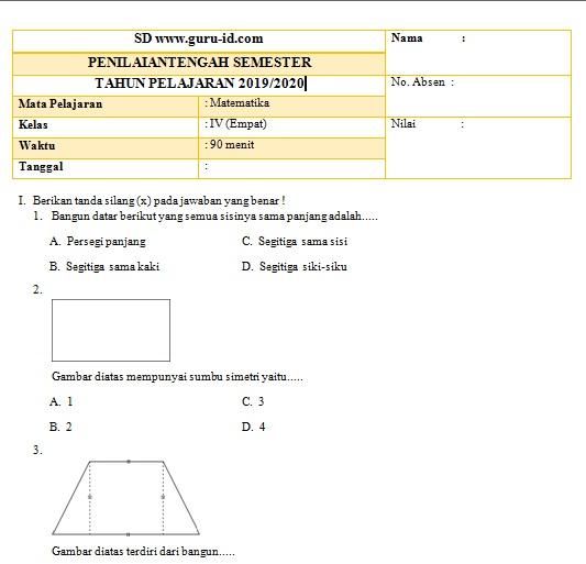gambar soal pts matematika kelas 4 2020