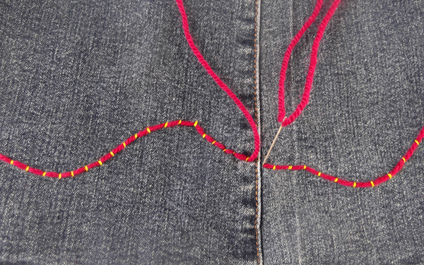 how to end couching stitch
