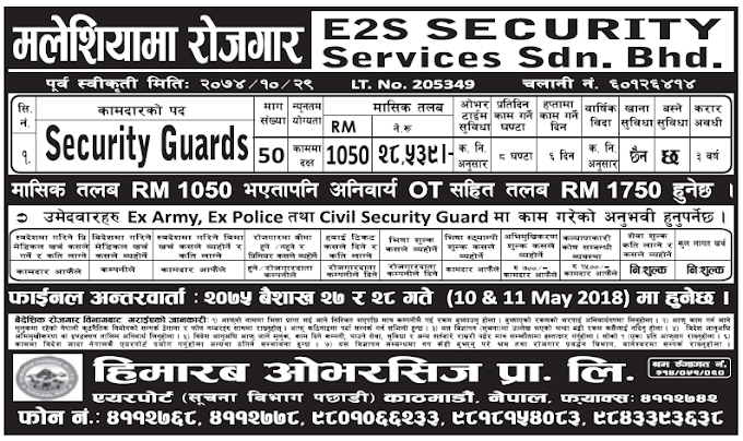 Jobs in Malaysia for Nepali, Salary Rs 47,250