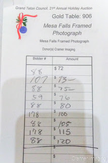 Photograph of the final selling price for Cramer Imaging's donation to the Grand Teton Council's charity auction 2017