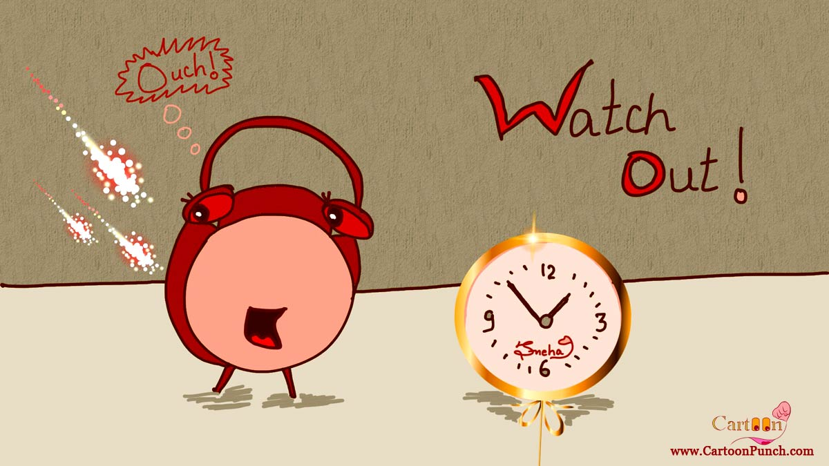 Watch out rocket fire behind red alarm clock cartoons by sneha