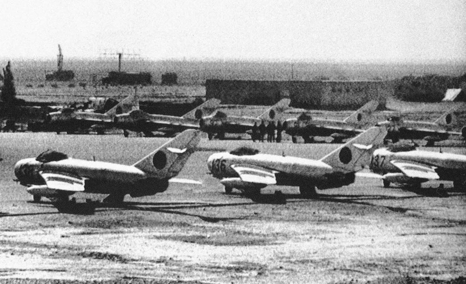 Russian-built Afghan MIG-17 jet fighters lined up at an airport in Kandahar, southwestern Afghanistan, on February 5, 1980.