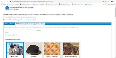 Screenshot of the search bar for the online portal - there are small images for featured items and instructions for how to search