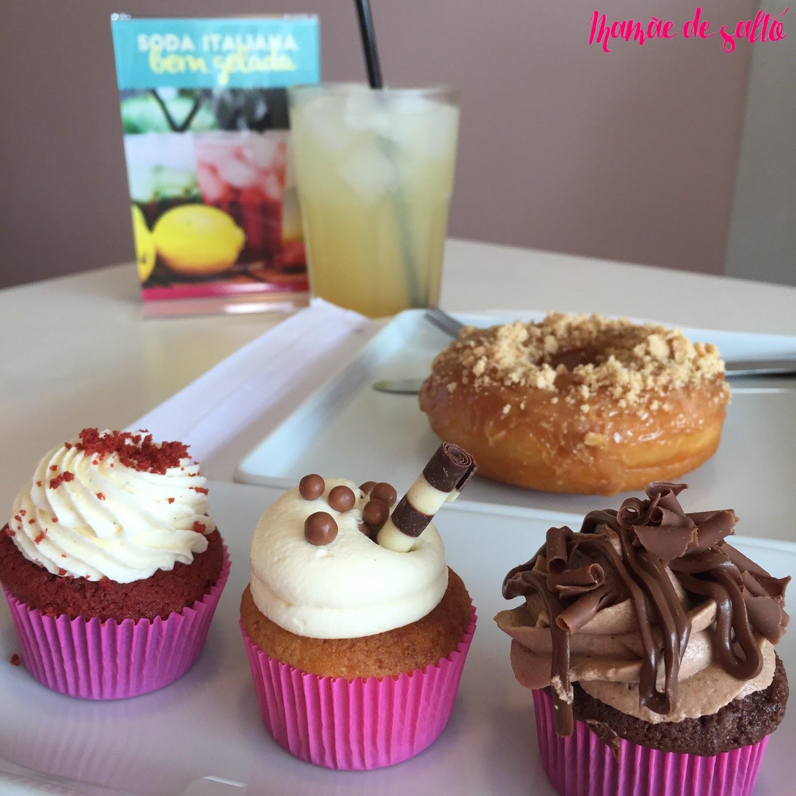 soda limonada, donuts doce de leite, cupcake chocolate branco, nutella, red velvet Sugar Bakery Curitiba/PR ... blog Mamãe de Salto