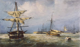 View of the Harbour at Kronshtadt by Ferdinand Perrot - Landscape Art Prints from Hermitage Museum