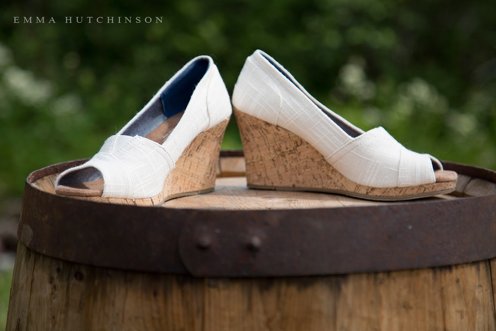 Newfoundland backyard wedding - wedge Toms bridal shoe