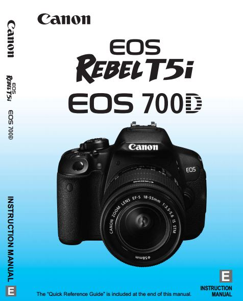 Canon EOS 700D / Rebel T5i PDF User Guide / Manual Downloads