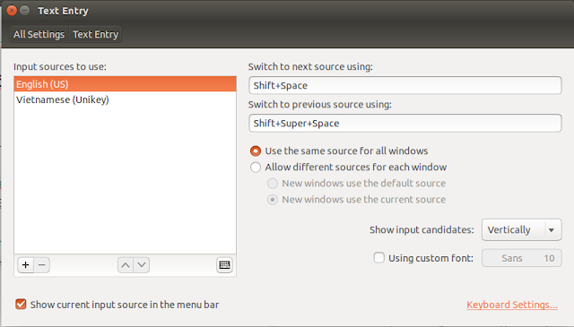text entry setting ubuntu