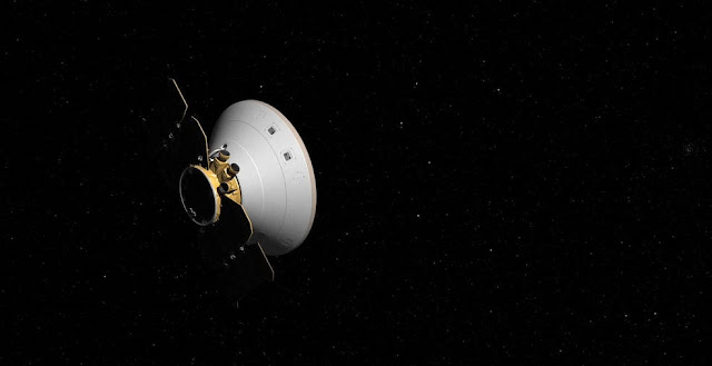 This artist's concept shows the InSight spacecraft, encapsulated in its aeroshell, as it cruises to Mars. Credits: NASA/JPL-Caltech