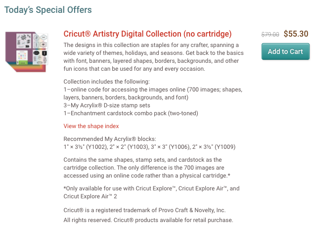 FEW HOURS LEFT for Cricut Digital Artistry Cartridge & MORE SALE!