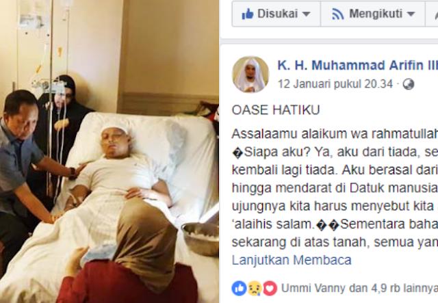 Tulis Pesan Ini di Facebook, Akun Ustadz Arifin Ilham Banjir Doa dan Airmata