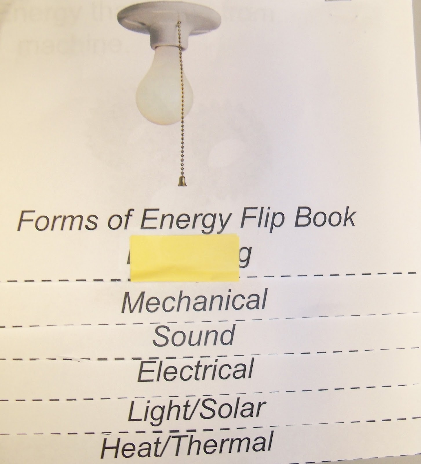 The 4th Grade May Niacs Forms Of Energy Flip Book
