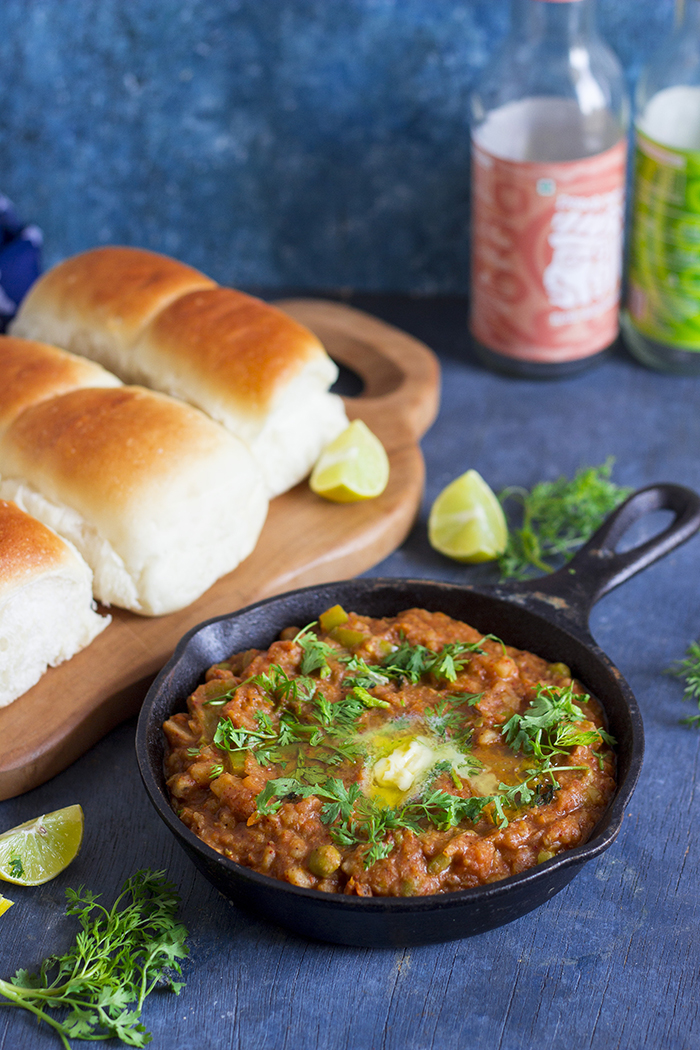 jain pav bhaji made without onion, garlic and potatoes