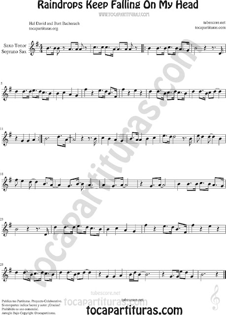 Soprano Sax y Saxo Tenor Partitura de Raindrops Keep Falling on my Head Sheet Music for Soprano Sax and Tenor Saxophone Music Scores