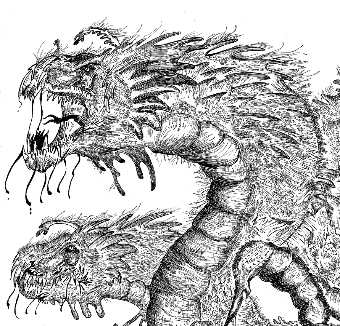 04-Dragon-Heads-Dušan-Krtolica-Душан-Кртолица-Drawing-Animals-and-Insects-from-His-Memory-Bank-www-designstack-co