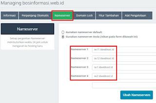 Pengaturan Name Servers Idwebhost terbaru