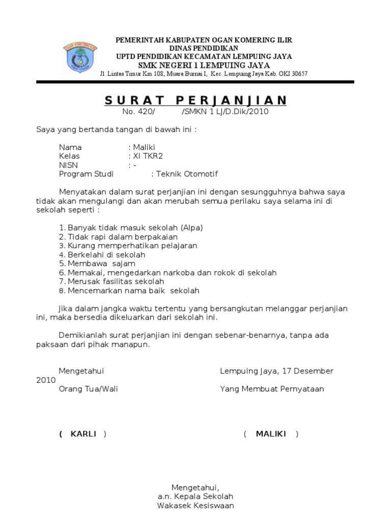 contoh surat perjanjian kesepakatan