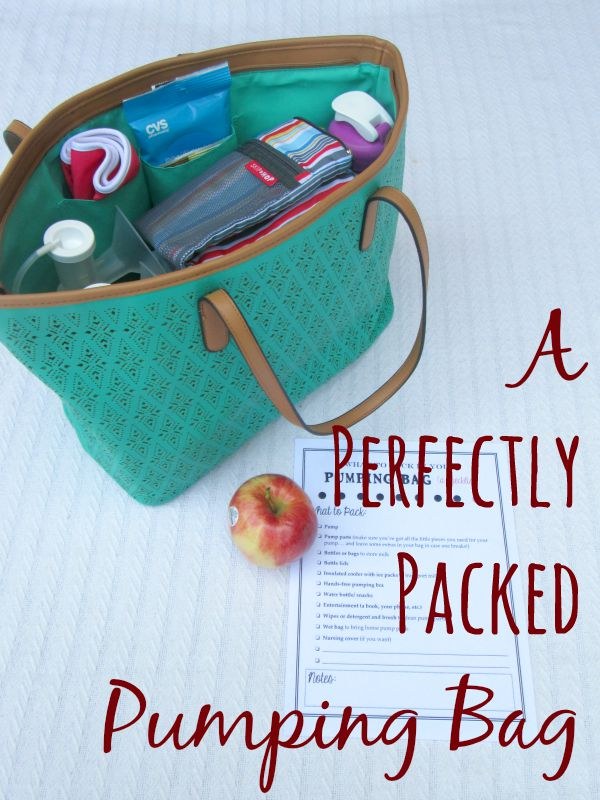 A perfectly packed pumping bag: Everything you need to include in a bag to pump at work for all you working moms. Includes a free printable checklist.
