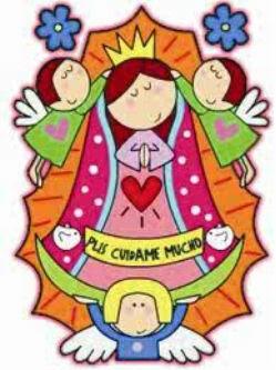 caricatuas de la Virgen de Guadalupe moderna
