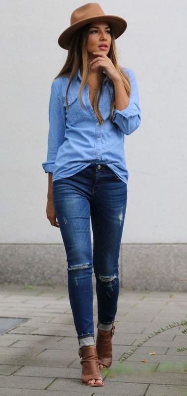 casual style obsession : hat + denim shirt + rips + boots