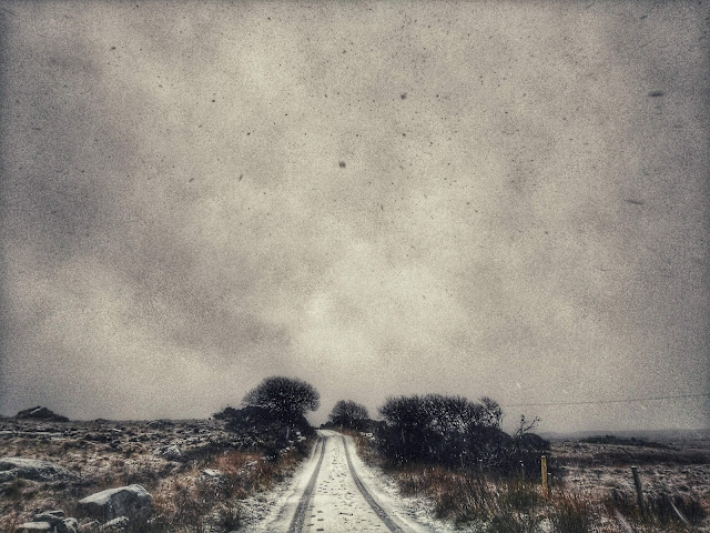 Snowy Connemara landscape,road, trees, bogs