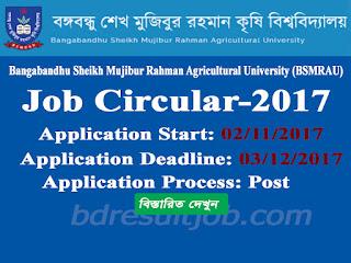 Bangabandhu Sheikh Mujibur Rahman Agricultural University (BSMRAU) Job Circular 2017