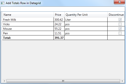 WPF Datagrid (Prevent DataGrid last row from being sorted on