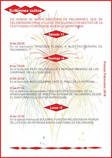 Fiestas Patronales de Trebujena 2016 - Actos religiosos