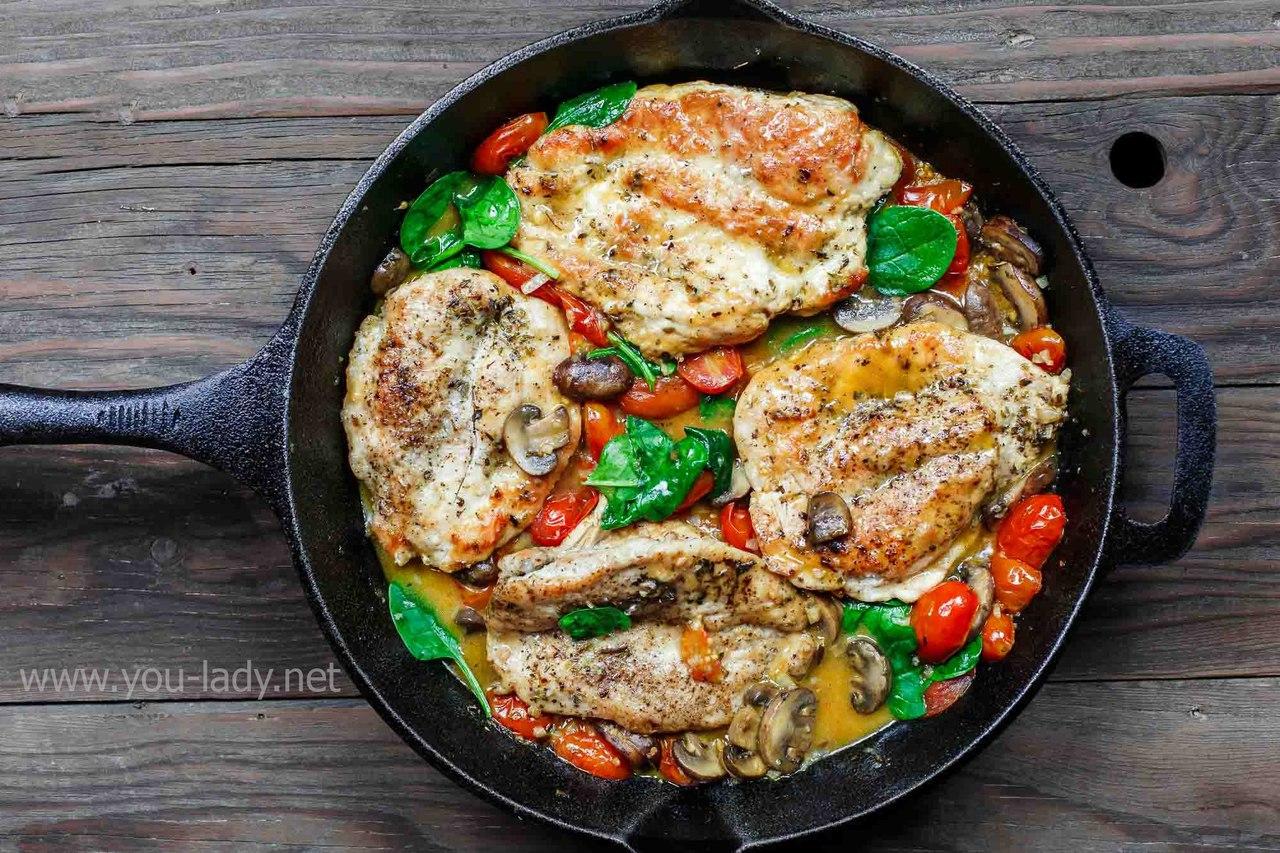 Курица с грибами, помидорами и вином – рецепт качиаторе