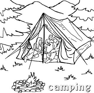People And Jobs Coloring Pages For Kids: Camping Coloring