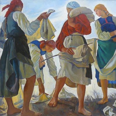 peintre franco-russe Zenaïda Serebriakova :  Les lavandières tableau exposé à la Galerie Tretiakov, Moscou