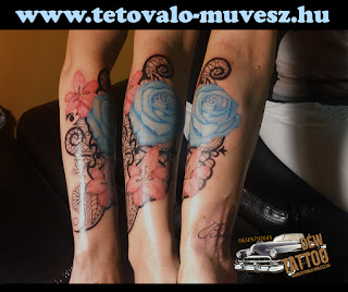 Kék rózsa tetoválás csipkével By: Déw art Szeged
