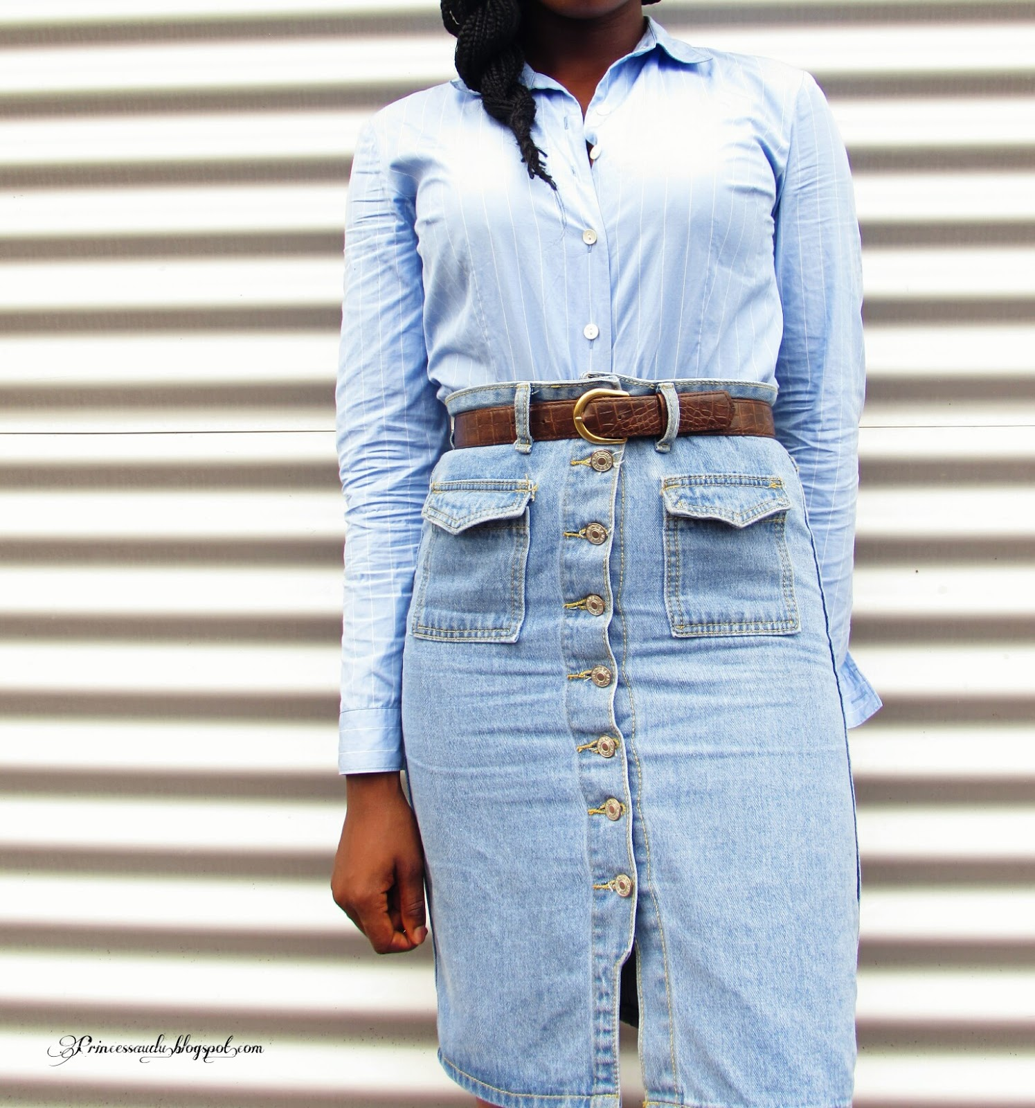 Denim skirt, pinstripes, sheinside, vintage, shades of blue, pockets