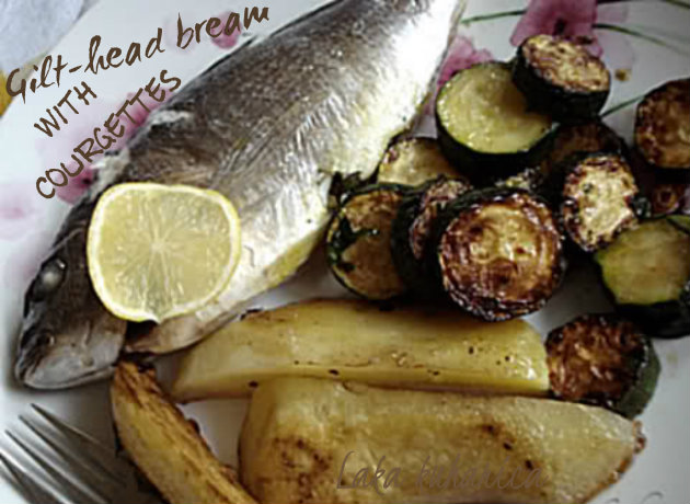 Gilt-head bream with courgettes by Laka kuharica: easy, quick, healthy and tasty meal.